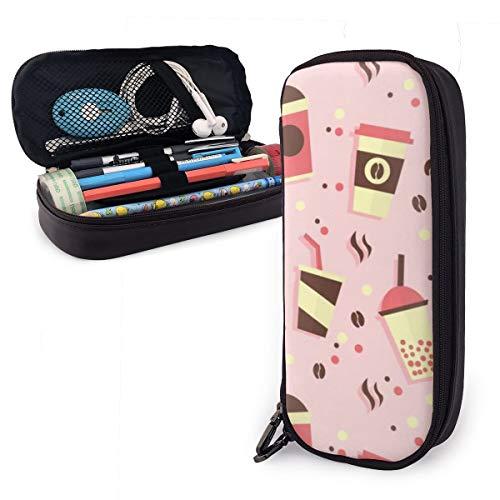 OUYouDeFangA - Bolsa de almacenamiento de piel sintética con diseño de dibujos animados, bolsa de papelería portátil para estudiantes, oficina, carteras con cremallera, bolsa multifunción para maquillaje