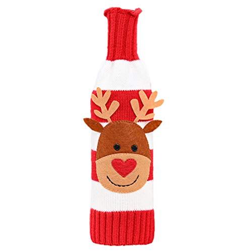 PRETYZOOM Botella de Vino de Navidad Bolsas de Tapa Suéter de Punto Botella Koozie Santa Claus Elk Adornos de Muñeco de Nieve Centro de Mesa para Navidad Decoraciones de Año Nuevo Gracias