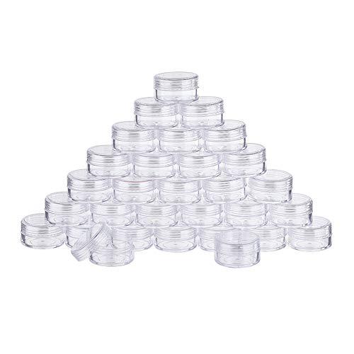 BENECREAT 30 Pack (15ml) Recipiente Vacío de Almacenamiento Bote de Plástico Transparente con Tapas de Rosca para Cuentas,Brillo,Maquillaje,Cosmeticos y Crema