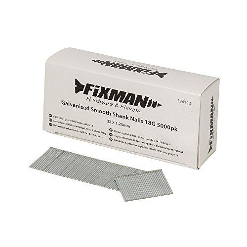 Fixman chiodi a gambo liscio zincato, 18G, argento, 724126