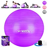 WOTEK Ballon de Gymnastique épais Anti-Explosion 65 cm/75 cm, Ballon de Pilates avec Pompe 300 kg pour Yoga, Fitness, Maison, Bureau, Salle de Gym, Femme Enceinte, Lilas, 75 cm