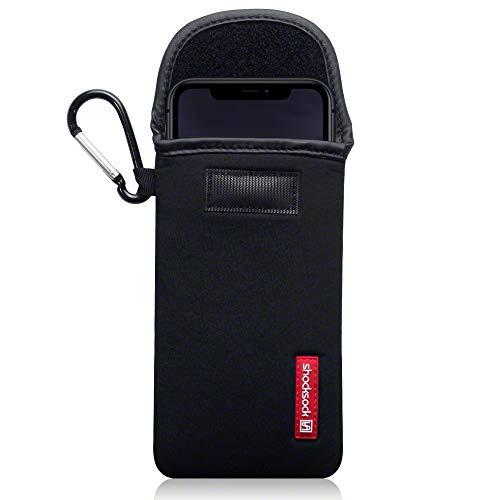 shocksock, Kompatibel mit iPhone 11 Neopren Tasche mit Carabiner Hülle - Schwarz