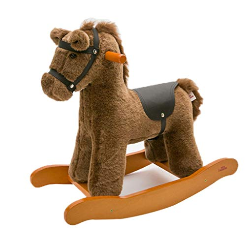 Taoke Schaukelpferd Ritter kleines Pferd Kinderschaukelstuhl Baby-Spielzeug-Geschenk Robuste, Ohr klingen, sendet Sattel 8bayfa