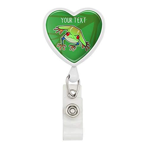 Personalized Custom 1 Line Tree Frog on Leaf Heart Lanyard Retractable Reel Badge ID Card Holder
