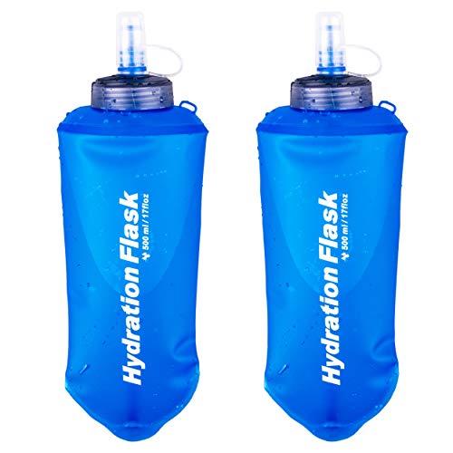 TRIWONDER Soft Flask aus TPU, Faltbarer Trinkflaschen, Sportflasche, Wasserflasche für Trinkrucksack Fahrrad Laufen Radfahren Wandern (500ml - 2 Stück)