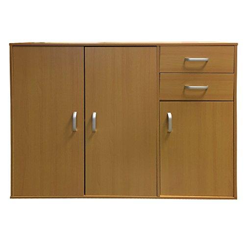 Redstone Sideboard Cupboard 3 Doors 2 Drawers (Beech)