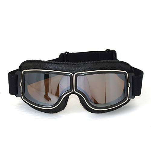 Vintage Motorradbrillen Schutzbrille für Pilot, schwarz/versilbern Brillenglas