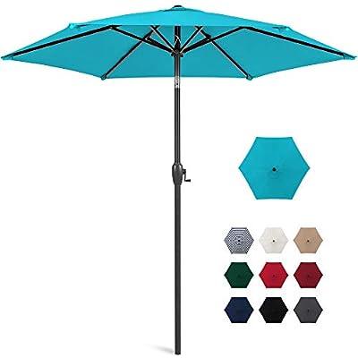Best Choice Products 7.5ft Heavy-Duty Round Outdoor Market Patio Umbrella w/Steel Pole, Push Button Tilt, Easy Crank Lift - Sky Blue