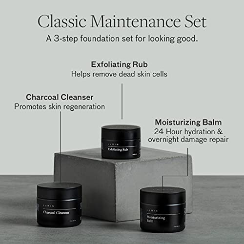 The Classic Maintenance Collection for Men (Oily Skin): Cleanse, Hydrate, and Renew Skin - Includes Moisturizing Balm, Exfoliating Rub, and Charcoal Cleanser - Achieve Your Best Look with Lumin