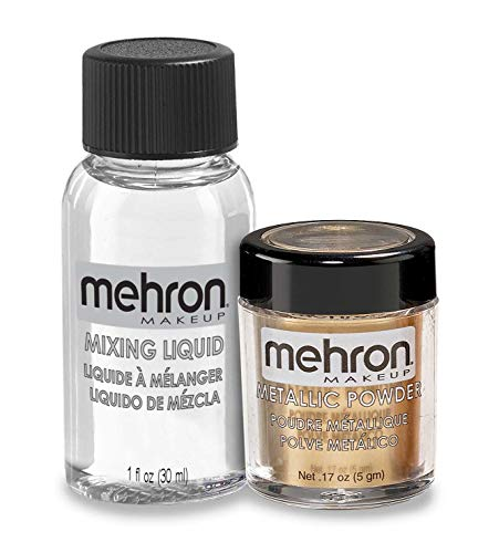 Mehron Makeup Metallic Powder (.17 Ounce) with Mixing Liquid (1 oz) (GOLD)