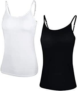 Camisoles with Built-in Shelf Bras, Comfortable Padded Bra Women Cami, Adjustable Straps Cotton Tank Top