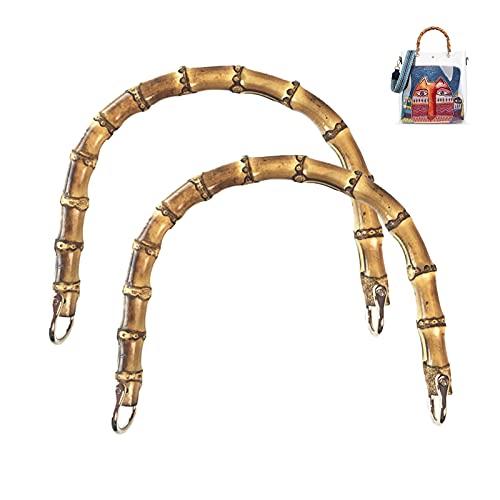 LMIX 2 Pezzi Manici per Borse Fai da Te in bambù, 20 CM Manici di Ricambio bambù, Maniglie per Borse Realizzazione per Artigianale Totebag Borsetta (Gancio di Oro)