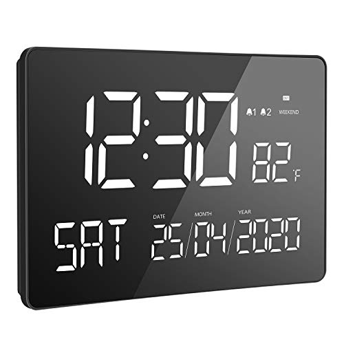 LIORQUE Digitale Kalenderuhr 11,2 Zoll Wanduhr digital Seniorenuhr Funktionwecker mit großer Schrift, Temperatur, 4 Helligkeiten für Senioren und Sehschwache, Schwarz