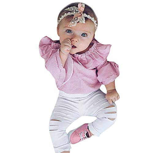 LANSKIRT Ropa para Recién Nacido Infantil bebé niñas Conjunto de Ropa de Trajes De Manga Larga Volantes Letras Impresas Tops + Pantalones + Banda de Pelo Invierno 3PCS (Rosado 01, 0-6 Mes)
