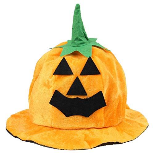 RK-HYTQWR Sombrero de Calabaza de Halloween Estilo Linterna Disfraz de Cosplay Gorro de Felpa de Terciopelo Accesorios de Fiesta, Sombrero de Calabaza de Halloween, Naranja + Verde + Negro