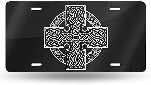 Square Celtic Cross License Plate Vanity Tag Aluminum Car License Plate 6 X 12 Inch for Most Truck Car Bedroom Decor