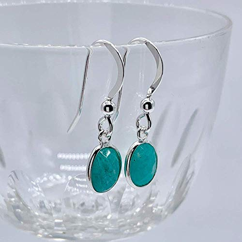 Diana Ingram earrings with amazonite (blue, turquoise) oval crystal gemstone drops on Sterling Silver or gold vermeil hooks
