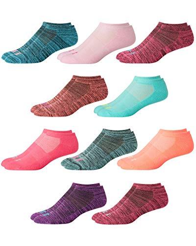 'Avia Girls High Performance Low Cut Socks (10 Pack), Pink/Blue, Large/Shoe Size: 4-10'