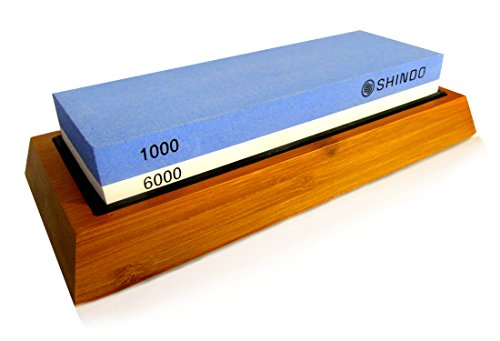 Shindo Premium Knife Sharpening Whetstone: Super fine grit 1000/6000 with PRECISION GUIDE and NONSLIP Bamboo base with detailed instructions
