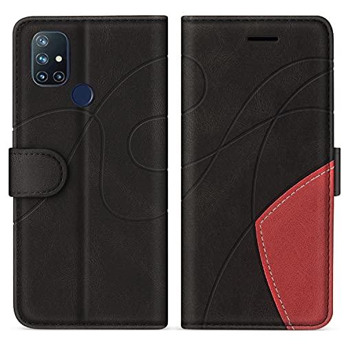 SUMIXON Hülle für OnePlus Nord N10 5G, PU Leder Brieftasche Schutzhülle für OnePlus Nord N10 5G, Kratzfestes Handyhülle mit Kartenfächern & Standfunktion, Schwarz