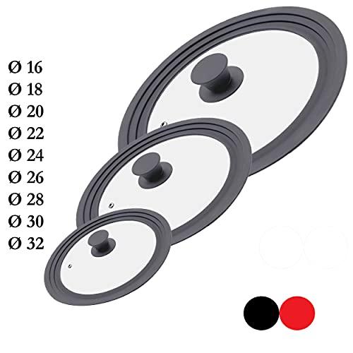 M.S.N Set di 3 coperchi universali in vetro, 3 pezzi, pentole e padelle da 16/18/20 cm e 24/26/28 cm e 28/30/32 cm, con valvola di scarico e bordo in silicone (grigio)