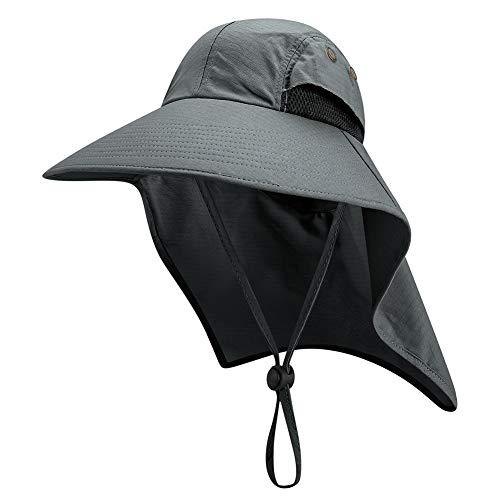 Sombrero de de Pesca Aleta Al Aire Libre, ala Ancha Ligero Impermeable Protección UV Cubierta del Cuello Gorra para el Sol para Senderismo Jardín Caza Camping