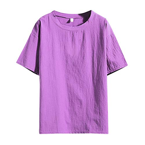 Yowablo Basic t Shirt Herren schwarz Summer Casual Pure Color Baumwoll Leinen Kurzarm Lose T-Shirt Tops (4XL,2Lila)
