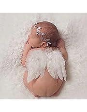 RICISUNG 天使の羽 赤ちゃん ハーフバースデー ベビー ニューボーンフォト寝相アート ヘアバンド エンジェルセット