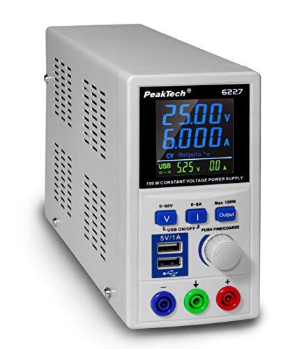 PeakTech P 6227 – DC Labor Netzteil 0-60 V / 0-6 A mit farbiger LCD Anzeige, Labor Netzgerät inkl. 2x USB Port, Einstellbare Ausgangsspannung, Betriebsspannung 115-240 V AC/ 50-60Hz - EN 61010-1