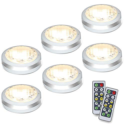 Puck Lights with Remote, Battery Operated Under Cabinet Lighting, Wireless Led Tap Light with Remote Control, Locker Light Closet Light, 4000K Natural White (Natural White)
