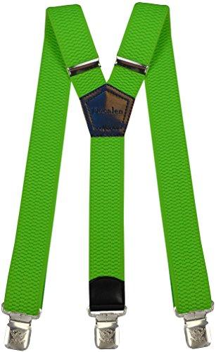 Hosenträger für Herren breit extra starken 4 cm mit 3er Clips Y-Form lange für Männer und Damen Hose, NeongrÃ?¼n, Lange