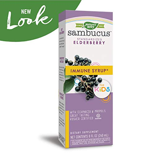 Nature's Way Sambucus Elderberry Syrup for Kids, Herbal Supplements, Gluten Free, Vegetarian, 8 oz