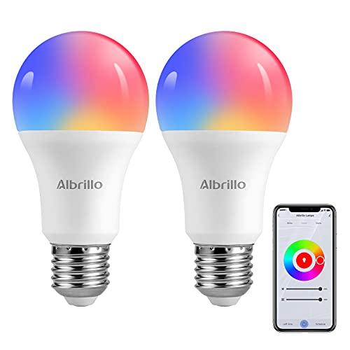 Albrillo Bombilla Inteligente LED WiFi, 9W 800LM Smart Bombilla, E27 lámpara regulable WLAN, RGB multicolor & 2700-6000K luces cálida/ fría, compatible con Alexa y Google Assistant, 2 paquete