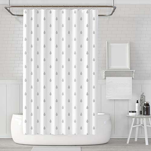 LACO RICH - Dekorativer Duschvorhang Regentropfen, Duschvorhang-Set aus weißem und grauem Stoff mit Haken, schimmelresistent, waschbar wasserdicht Duschvorhang für Badezimmer mit der Größe 72x72 Zoll
