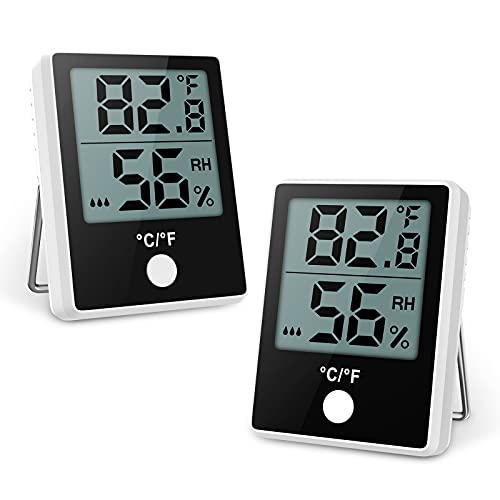 Brifit Thermo Hygrometer, 2 Stück Thermometer Innen, Digital Raumthermometer mit Hohen Genauigkeit, Komfortanzeige, Luftfeuchtigkeitsmessgerät innen für Zuhause, Babyraum, Wohnzimmer, Büro