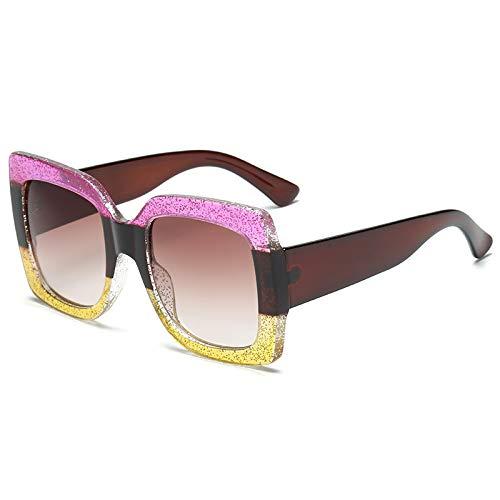 QINGZHOU Gafas De Sol,Gafas De Sol Cuadradas Con Montura De Tres Colores De Moda Para Mujer, Gafas De Sol Frescas De Moda De Cristal Colorido De Lujo, Rosa Y Amarillo