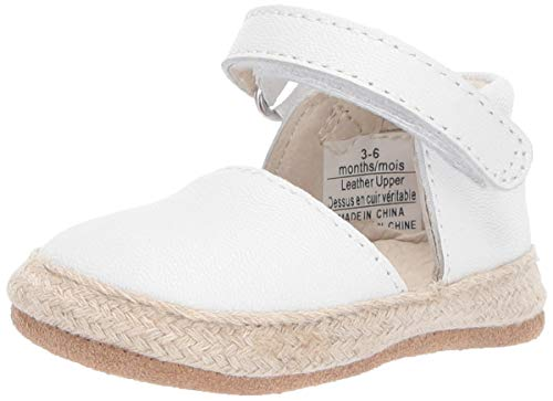 Robeez Girls' Espadrille-First Kicks Crib Shoe, White, 6-9 Months M US Infant
