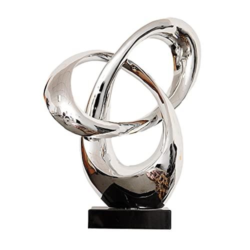 NXYJD Caballamiento Oro Plata Resina Resina Sala de Estar decoración Negro mármol Escultura Moderna Estatua Regalo de cumpleaños para Boda (Color : Silver)