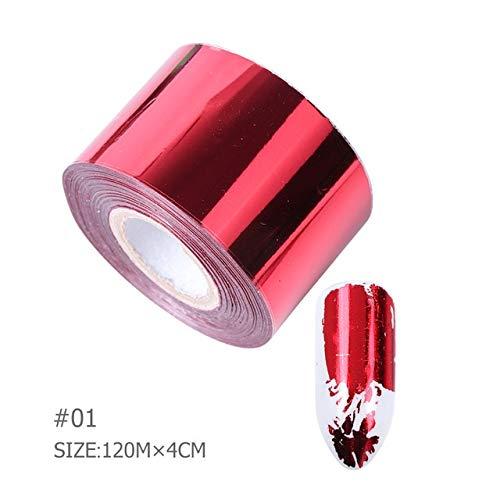 HUYDLD Autocollant D'Ongle 1 Rouleau 120M X 4Cm Coulissant Nail Foils Rose Ruban Laser Couleur En Métal Ciel Étoilé Aluminium Transfert Art Autocollants Nail Décorations