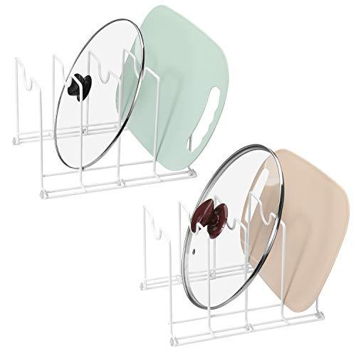 ROFAY - Organizador de armario, encimera y utensilios para hornear, paquete de 2, tapa de olla y soporte para tabla de cortar, estante de metal para hornear y soporte para tabla de cortar