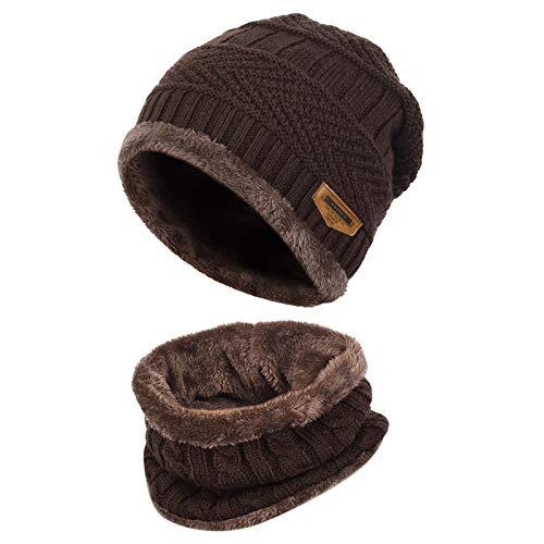Vbiger Wintermütze Strickmütze Warme Beanie Winter Mütze und Schal mit Fleecefutter für Damen und Herren,Kaffeebraun,Einheitsgröße