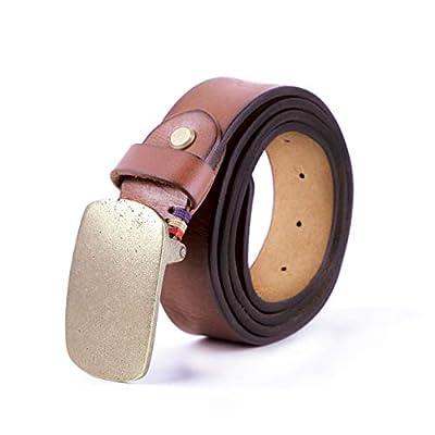 Mens belts leather for men brown genuine men's retro solid copper buckle designer male jeans long belt western man