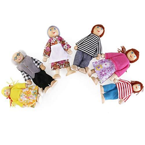 OULII 6pcs bambola felice famiglia burattino di legno congiunta Maumet compresi i nonni per bambini divertente regalo di ruolo
