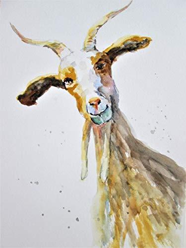 NUWCECK Malen nach Zahlen DIY Ziegenbock Mutterschaf DIY Ölgemälde Zeichnung Leinwand mit Pinsel Dekorationen Geschenke