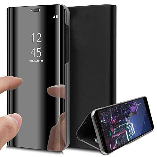Divyankaa Mobile Flip Cover for Samsung Galaxy Note 10 Plus, Electroplate Mirror Flip with Magnetic Videography Stand for Samsung Galaxy Note 10 Plus [ Black ]