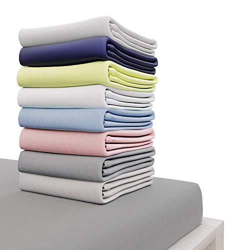 Dreamzie - Drap Housse 140x190 cm - 100% Coton Jersey Certifié Oeko-TEX® - Gris Anthracite - pour Matelas 140 x 190 x 22 cm avec Grands Bonnets et Elastique Complet