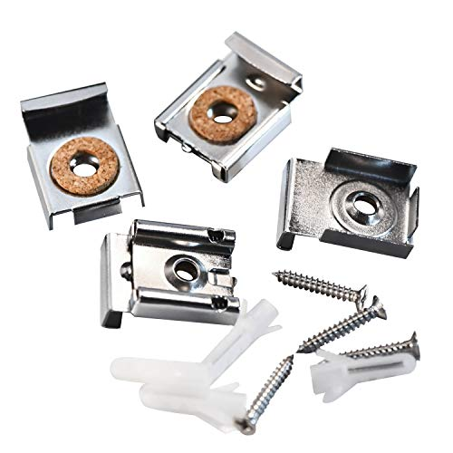 Spring Loaded Mirror Hanger Clips Set Unframed Mirror Mount Clips with Rawl Plugs and Screws