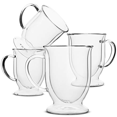 BTaT- Coffee Mug, Coffee Glass, Set of 4 (12oz, 350ml), Double Wall Glass Coffee Cups, Tea Cups, Latte Cups, Glass Coffee Mug, Beer Glasses, Latte Mug, Clear Mugs, Glass Cups, Glass Tea Mugs, Irish