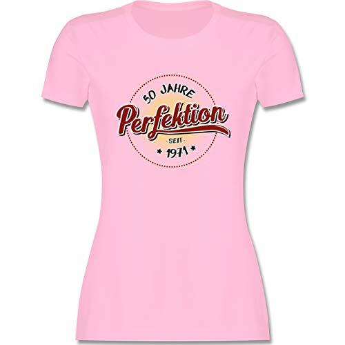 Geburtstag - 50 Jahre Perfektion seit 1971 - S - Rosa - t-Shirt 50 Frau - L191 - Tailliertes Tshirt für Damen und Frauen T-Shirt