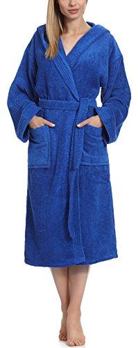 Ladeheid Albornoz de Baño 100% Algodón Ropa de Casa Mujer LA40-102 (Azul (D14) (Densidad de 450), S)